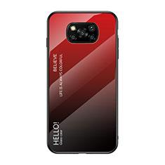 Carcasa Bumper Funda Silicona Espejo Gradiente Arco iris para Xiaomi Poco X3 NFC Rojo