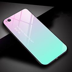 Carcasa Bumper Funda Silicona Espejo Gradiente Arco iris para Xiaomi Redmi Go Cian