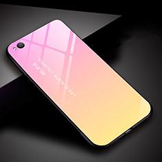 Carcasa Bumper Funda Silicona Espejo Gradiente Arco iris para Xiaomi Redmi Go Rosa