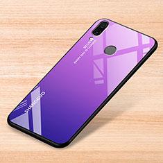 Carcasa Bumper Funda Silicona Espejo Gradiente Arco iris para Xiaomi Redmi Note 7 Pro Morado