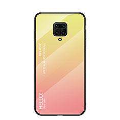 Carcasa Bumper Funda Silicona Espejo Gradiente Arco iris para Xiaomi Redmi Note 9 Pro Amarillo