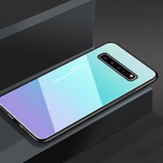 Carcasa Bumper Funda Silicona Espejo M01 para Samsung Galaxy S10 5G SM-G977B Azul Cielo