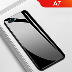Carcasa Bumper Funda Silicona Espejo para Oppo A7 Negro