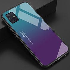 Carcasa Bumper Funda Silicona Espejo para Samsung Galaxy A51 4G Azul