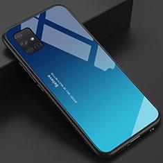 Carcasa Bumper Funda Silicona Espejo para Samsung Galaxy A51 4G Azul Cielo