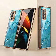 Carcasa Bumper Funda Silicona Espejo para Samsung Galaxy Z Fold2 5G Cian