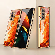 Carcasa Bumper Funda Silicona Espejo para Samsung Galaxy Z Fold2 5G Naranja