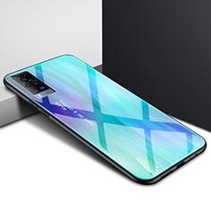 Carcasa Bumper Funda Silicona Espejo para Vivo X60 Pro 5G Cian