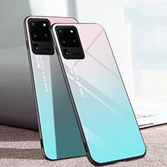 Carcasa Bumper Funda Silicona Espejo T01 para Samsung Galaxy S20 Ultra 5G Cian