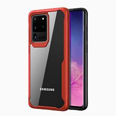 Carcasa Bumper Funda Silicona Transparente Espejo H02 para Samsung Galaxy S20 Ultra 5G Rojo