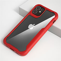 Carcasa Bumper Funda Silicona Transparente Espejo M01 para Apple iPhone 12 Mini Rojo