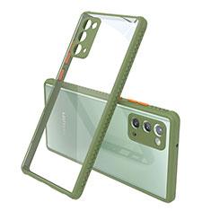 Carcasa Bumper Funda Silicona Transparente Espejo N02 para Samsung Galaxy Note 20 5G Ejercito Verde