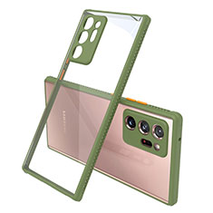 Carcasa Bumper Funda Silicona Transparente Espejo N02 para Samsung Galaxy Note 20 Ultra 5G Ejercito Verde