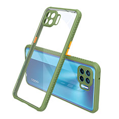 Carcasa Bumper Funda Silicona Transparente Espejo para Oppo Reno4 F Verde
