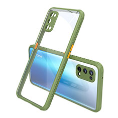 Carcasa Bumper Funda Silicona Transparente Espejo para Realme X7 Pro 5G Verde