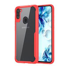 Carcasa Bumper Funda Silicona Transparente Espejo para Samsung Galaxy A11 Rojo