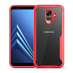 Carcasa Bumper Funda Silicona Transparente Espejo para Samsung Galaxy A6 (2018) Dual SIM Rojo