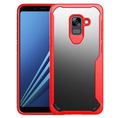 Carcasa Bumper Funda Silicona Transparente Espejo para Samsung Galaxy A8+ A8 Plus (2018) Duos A730F Rojo