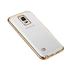 Carcasa Bumper Lujo Marco de Aluminio para Samsung Galaxy Note 4 Duos N9100 Dual SIM Oro