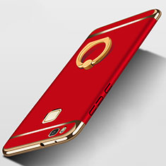 Carcasa Bumper Lujo Marco de Metal y Plastico con Anillo de dedo Soporte para Huawei P9 Lite Rojo