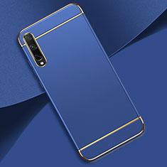 Carcasa Bumper Lujo Marco de Metal y Plastico Funda M01 para Huawei Enjoy 10S Azul
