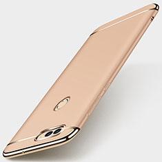 Carcasa Bumper Lujo Marco de Metal y Plastico Funda M01 para Huawei Enjoy 7S Oro