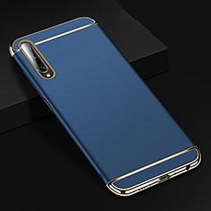 Carcasa Bumper Lujo Marco de Metal y Plastico Funda M01 para Huawei Honor 9X Pro Azul
