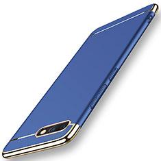 Carcasa Bumper Lujo Marco de Metal y Plastico Funda M01 para Huawei Honor V10 Azul
