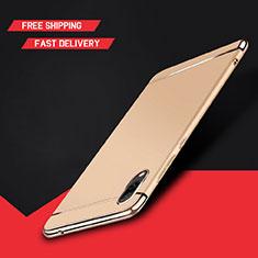 Carcasa Bumper Lujo Marco de Metal y Plastico Funda M01 para Huawei Y7 Prime (2019) Oro