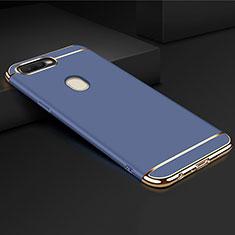 Carcasa Bumper Lujo Marco de Metal y Plastico Funda M01 para Oppo A7 Azul