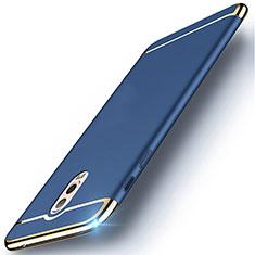 Carcasa Bumper Lujo Marco de Metal y Plastico Funda M01 para Samsung Galaxy J7 Plus Azul