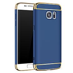 Carcasa Bumper Lujo Marco de Metal y Plastico Funda M01 para Samsung Galaxy S7 G930F G930FD Azul