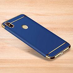Carcasa Bumper Lujo Marco de Metal y Plastico Funda M01 para Xiaomi Redmi Note 6 Pro Azul