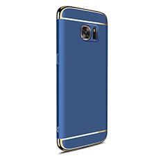 Carcasa Bumper Lujo Marco de Metal y Plastico Funda M05 para Samsung Galaxy S7 Edge G935F Azul