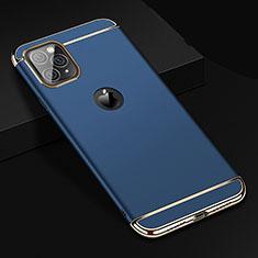Carcasa Bumper Lujo Marco de Metal y Plastico Funda T01 para Apple iPhone 11 Pro Max Azul