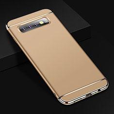 Carcasa Bumper Lujo Marco de Metal y Plastico Funda T01 para Samsung Galaxy S10 Plus Oro