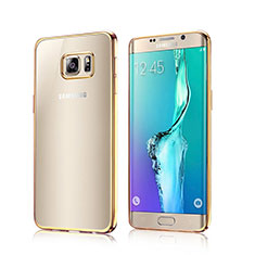 Carcasa Bumper Silicona Transparente Gel para Samsung Galaxy S6 Edge SM-G925 Oro