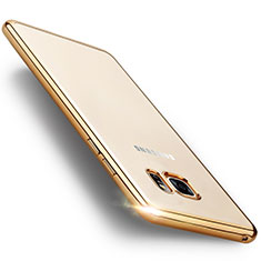 Carcasa Bumper Silicona Transparente Mate para Samsung Galaxy Note 7 Oro