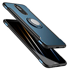 Carcasa Bumper Silicona y Plastico Mate con Anillo de dedo Soporte para Huawei Mate 10 Lite Azul