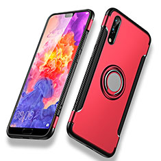 Carcasa Bumper Silicona y Plastico Mate con Anillo de dedo Soporte para Huawei P20 Rojo