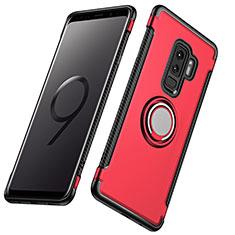 Carcasa Bumper Silicona y Plastico Mate con Anillo de dedo Soporte para Samsung Galaxy S9 Plus Rojo