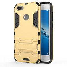 Carcasa Bumper Silicona y Plastico Mate con Soporte para Huawei P9 Lite Mini Oro