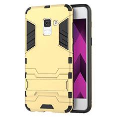 Carcasa Bumper Silicona y Plastico Mate con Soporte para Samsung Galaxy A5 (2018) A530F Oro