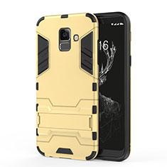 Carcasa Bumper Silicona y Plastico Mate con Soporte para Samsung Galaxy A6 (2018) Oro