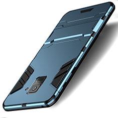 Carcasa Bumper Silicona y Plastico Mate con Soporte para Samsung Galaxy A8 (2018) A530F Cian