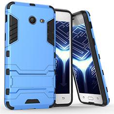 Carcasa Bumper Silicona y Plastico Mate con Soporte para Samsung Galaxy J5 (2017) Version Americaine Azul