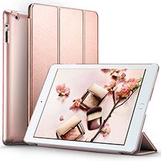 Carcasa de Cuero Cartera con Soporte L01 para Apple iPad 4 Oro Rosa