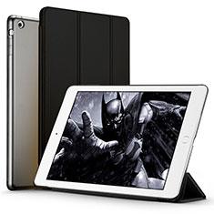 Carcasa de Cuero Cartera con Soporte L01 para Apple iPad Air Negro