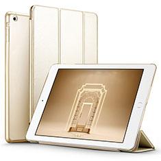 Carcasa de Cuero Cartera con Soporte L01 para Apple iPad Air Oro