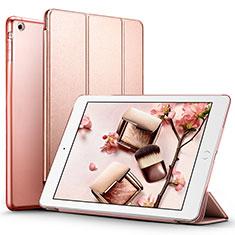 Carcasa de Cuero Cartera con Soporte L01 para Apple iPad Air Oro Rosa